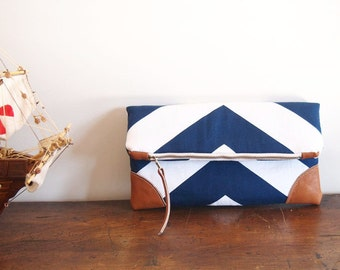 Navy/Nautical Fold over Clutch purse/ blue-white chevron/ leather details/zipper clutch/cruise/yacht