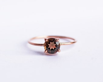 14K Rose Gold Solitaire Ring, Smoky Quartz, Rustic, Wedding Ring, Engagement Ring, Skinny Band