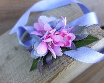 Purple and blue flowers bracelet