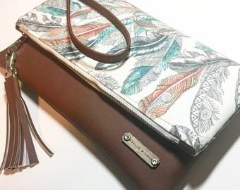 Feather Print Fold Over Clutch, Wristlet, Handbag, Crossbody Bag