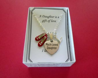 Much Loved Daughter Necklace, Personalized Daughter Necklace, Laser Engraved Daughter Necklace, Daughter Necklace with Birthstone, N