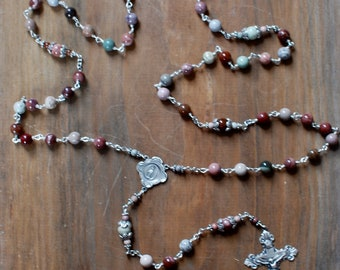 Picasso Jasper and Sterling Silver Rosary