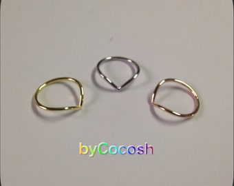 Chevron sterling silver 925, chevron ring set, silver ring, thin ring,bycocosh,FREE SHİPPİNG