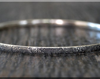 Sterling Silver Whimsy Floral Pattern Bangle, Textured Solid Sterling Bangle Bracelet, Stacking Bangle Bracelet, Sterling Silver Bracelet