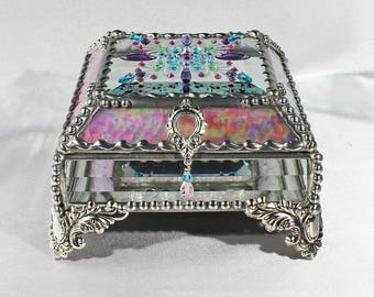 Jewel Encrusted 4X4 SILVER - Treasure Box, Stained Glass, Trinket Box, Stained Glass, Vintage Jewels