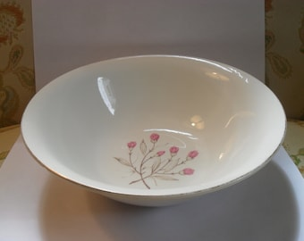 Wedgewood and Co Serving Bowl-Pink Flowers and Tan Leaves with gold rim
