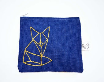 Fox clutch, fox purse, make-up purse, clutch made with recycled fabrics