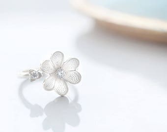 Flower Ring 925 Sterling Silver Dainty Flower Adjustable Ring