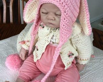 Crochet Bunny Hat with Earflaps, Bunny Hat, Crochet Bunny Hat, Baby Hat, Newborn Hat, Baby Girl Hat, Baby Bunny Hat