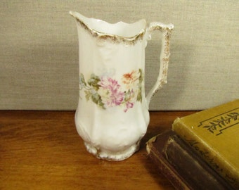 Vintage Porcelain Tall Creamer - Gold Accent - Embossed - Pink and Blue Flowers
