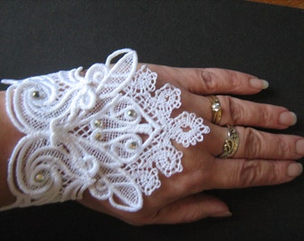 Handmade Embroidered White Lace Cuffs with Diamantes  Goth/Steampunk/Burlesque/Bridal/Wedding