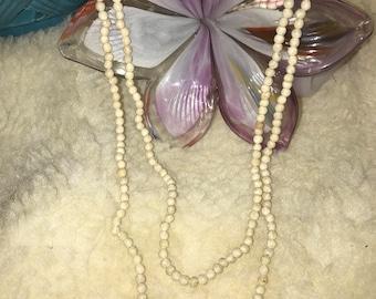 Cream Stone 36inch Vintage Pullover Necklace