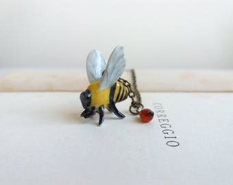 Ceramic Bee charm necklace - beautiful bumble bee with carnelian on brass - gift for gardener