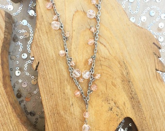 Vintage Rosary Style Peach Beaded Necklace