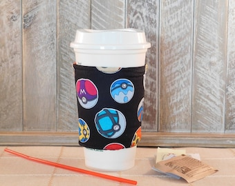 Coffee Cozy Made With Pokemon Pokeball Inspired Fabric