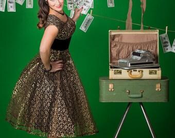 Vintage 1940s/1950s  Gold Lace Party Dress M