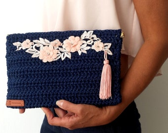 Blue CROCHET BAG with PINK Floral Embellishment / Tasseled Squeeze Frame Envelope Bag / Flex Frame Closure /Ready to Ship