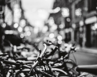 Bicycles in Dublin City Street Black and White Irish Fine Art Photography Photo Picture Deep Matte Living Room Print Ireland