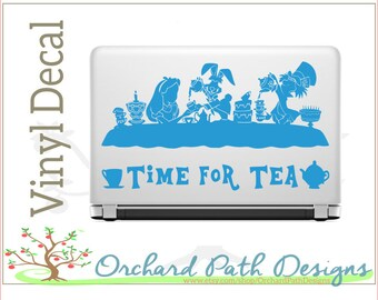 Alice in Wonderland Tea Party Vinyl Decal with Mad Hatter, March Hare, and Alice for laptops, car windows, tublers, & other surfaces, Disney