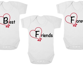Triplet baby shower etsy bff best friends forever new triplets baby bodysuitsbaby grows onesiesvests negle Image collections