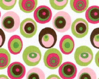 Fabric Finders 596 Pink Green Brown Mod Dots Twill Clothing Quilting Fabric By The Yard
