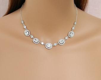 Crystal Bridal Necklace, Crystal Wedding Necklace, Swarovski Crystal, Silver Wedding Jewelry, Bridal Jewellery, Chelsea Bridal Necklace