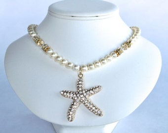 Handmade Pearl & Crystal Rhinestone Gold Starfish Necklace, Beach Destination Wedding (Pearl-378)