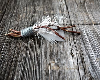 Rustic Feather Boutonniere | Branch, Turkey Feather, Stardust Gypsum, Grey Yarn | Groom Boutonniere | White and Brown Boutonniere