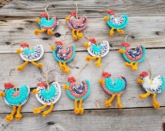 Chicken Ornament,Ready To Ship,Southwestern Chicken,Southwestern Christmas Ornament,Ornament Set,Christmas Ornament Set,Farmhouse Decor