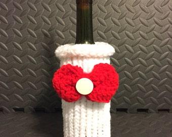 knit bottle cover, wine bottle cozy, Christmas wine bag, wine gift bag, wine gift sack, bottle cover, bottle sweater, wine sleeve, wine tote