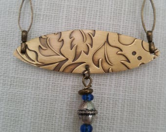 Vintage inspired Autumn Brass Sterling Glass bead Oval Necklace