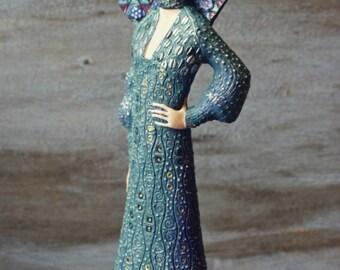 Emilie Flöge, Gustav Klimt Figurine, Miniature,Art Nouveau, Art Miniature,Gustav Klimt Art, Art Figurine, Klimt Figurine,Emilie Louise Flöge