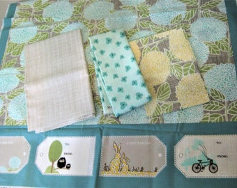 Bluebird Park Fabric Lot, by Kate & Birdies Paper Co*Moda Fabrics*Fabric Panel with Coordinating Fabrics*Out of Print*OOP*Babies Nursery