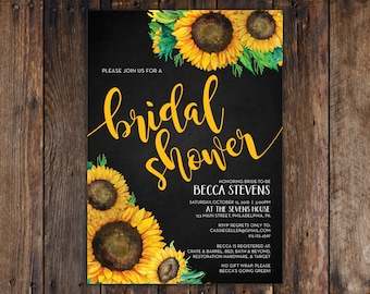 Fall Sunflower and Chalkboard 5x7 Bridal Shower Invitation