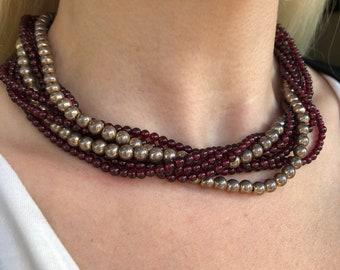 Tiffany & Co. Garnet and Silver Bead Torsade Necklace
