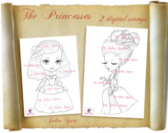 Set of 2 Digital Stamps,  Princess, Marie Antoinette, Princess Margaret,  Vintage, Digi, Coloring page, Big Eyes, Rococo. The Princesses