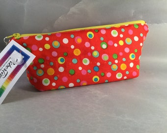 Bright Red With Multi-Colored Dots MakeUp Bag