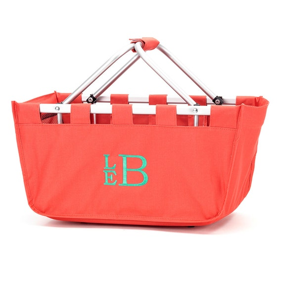 Coral  Market tote picnic basket tote monogram basket tote personalized tote bag tailgate tote gameday bag college dorm shower caddy basket