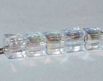 20 pcs 4mm Faceted Transparent Clear Rainbow Glass Cube Beads