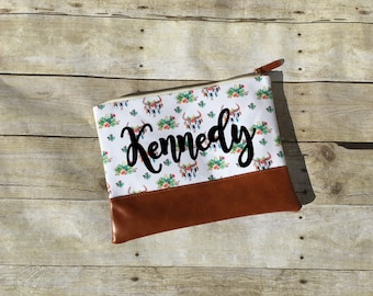 Personalized Cosmetic Bag, Travel Bag, Boho Bag, Skull Bag, Boho Cow Skull, Carry All Bag, Canvas Bag, Personalized Gift