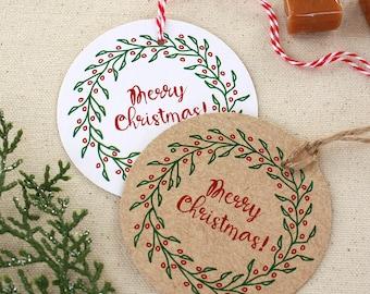 Circle Wreath Holiday Gift Tags, Gift Tags, Christmas Gift Tags, Seasons Greetings Gift Tag, Set of 10