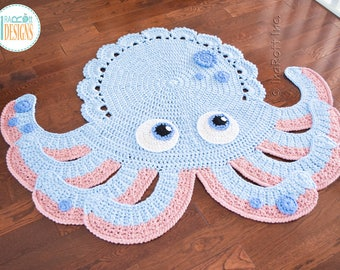 Inky the Octopus Handmade Crochet Area Rug - READY to SHIP