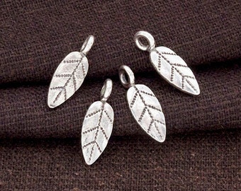 4 of Karen Hill Tribe Silver Leaf Charms 5x12 mm. :ka4228