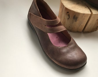 Shoes - Ballet flats - shoes - made in spain - vintage - Brown with some purple-size 38