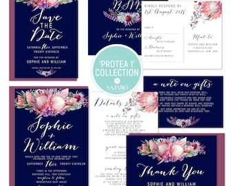 Protea 1 - Wedding invitation, wedding invitation set, protea flower, native bouquet