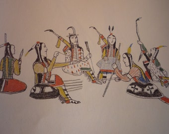 Making Bows and Arrows - Zo Tom & Howling Wolf Plains Indians Sketch Books - Art Print - 1Native American for 11 by 14 frame - matted