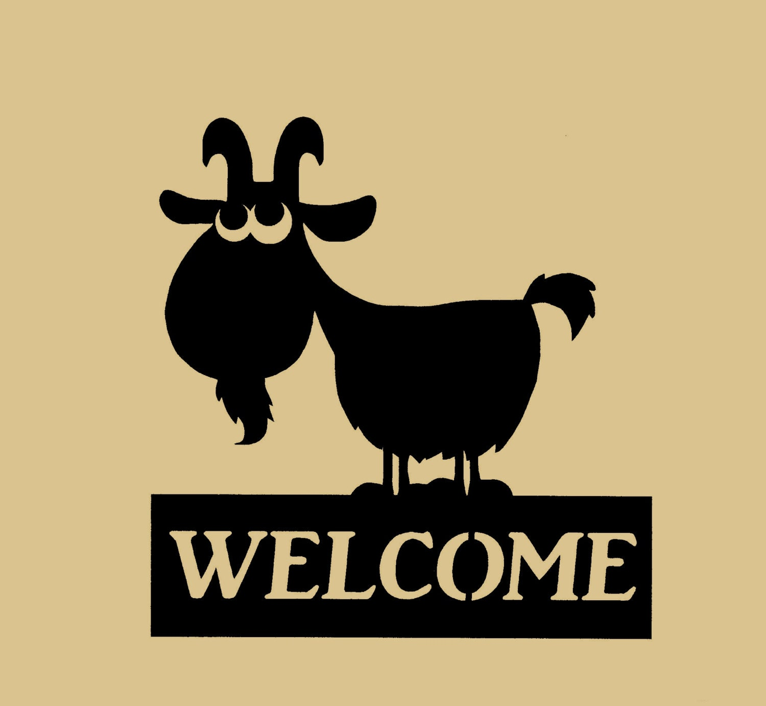 Goat Welcome sign silhouette farmyard Metal Art