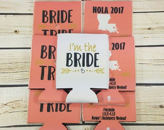 coral nola bride tribe  bachelorette party / bride tribe can coolers / bachelorette party can coolers / new orleans bachelorette
