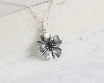 Cherry Blossom Necklace - Sterling Silver Cherry Blossom Charm Necklace - Floral Charm Necklace - Chinese Cherry Blossom - Flower Necklace