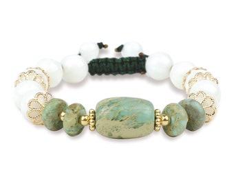 ST-A09 Beaded Stone Bracelet with Mother of Pearl Bracelet w/ Shoreline Stone, Calming, 14K, Adjustable, Green